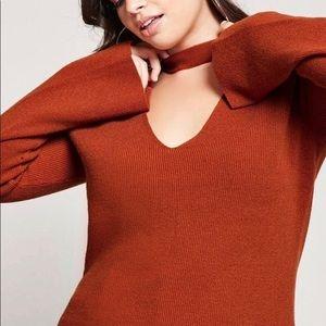 Forever 21 v neck choker sweater